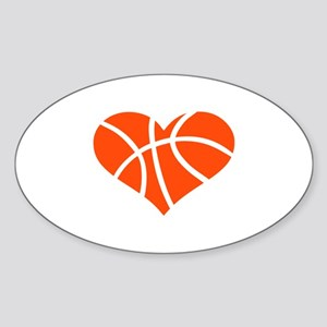 Basketball heart Sticker (Oval)